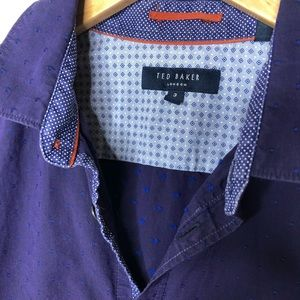 TED BAKER Purple blue polkadots Button down top